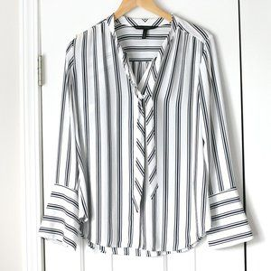 WHBM striped tie front dress shirt blouse